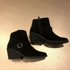 Very Volatile Black Suede Leather Buckle Booties